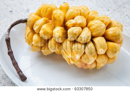 Group of fresh chempedak arils a fruit native to South East Asia region.