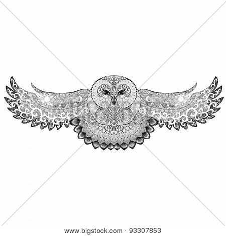 Owl With Patterns, Ornaments, Tattoo, Dotwork