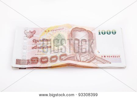 Thai money currency isolated on white background