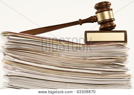 gavel on stack of documents