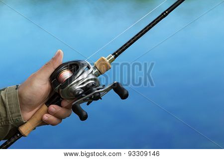 Casting A Fishing Reel And Spinning