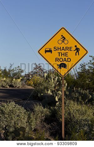 Cautionary Share The Road Sign In Saguaro National Park