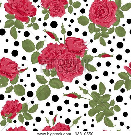 Seamless Flowers Of Red Roses Pattern With Dots, Circles Background