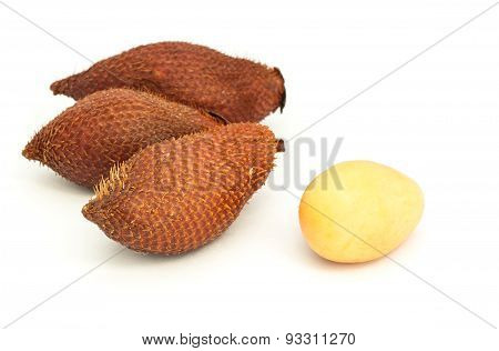 Lychee (litchi Chinensis) Against On White Background