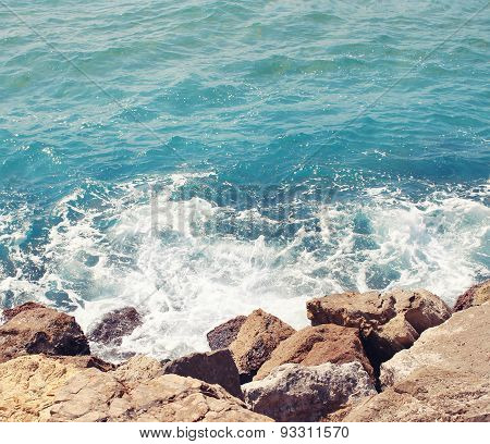 Sea, Wave With Foam And Rocks, Abstract Travel Photo Background