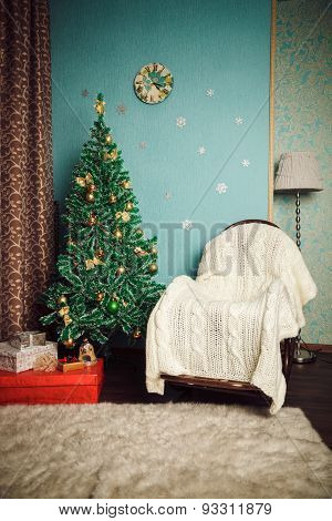 Christmas Interior - Tree And Rocking Chair