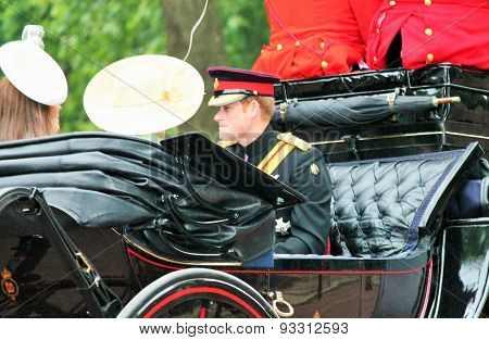 LONDON, UK - JUNE 13 2015: Prince Harry during Trooping th Colour