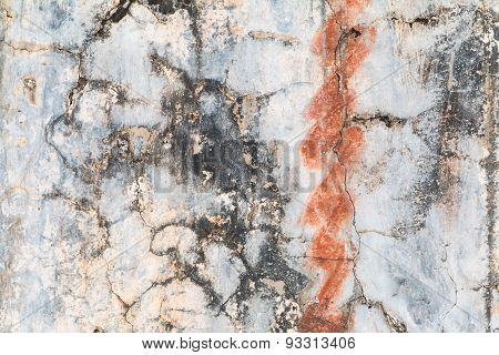 Grunge wall texture with rust and cracks.