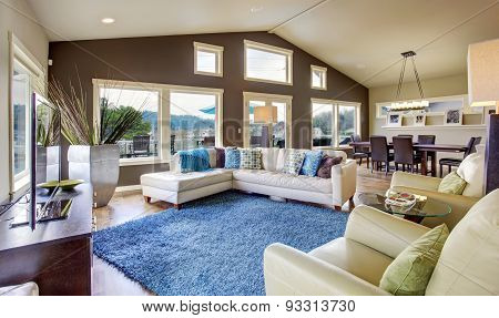 Northwest Traditional Large Bright Living Room Interior.