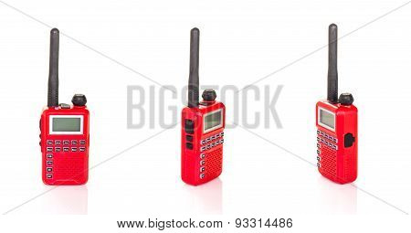 Radio Communication Red Color On White Isolate Background.