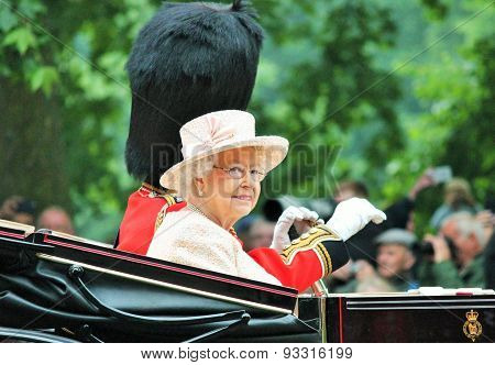 LONDON - JUNE 13: Queen Elizabeth II and Prince Philip Trooping of the colour