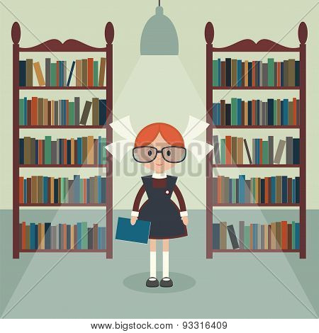 Soviet Cartoon Schoolgirl In Library.