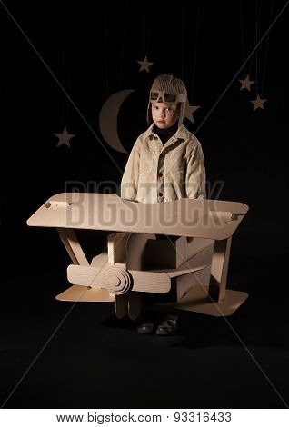 Toy Airplane At Night