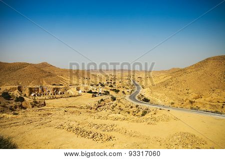View Of Mountain Road In Sahara Desert