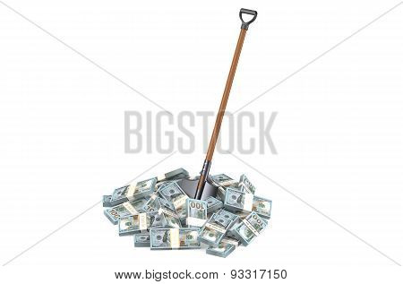 Heap Of Dollars With Shovel