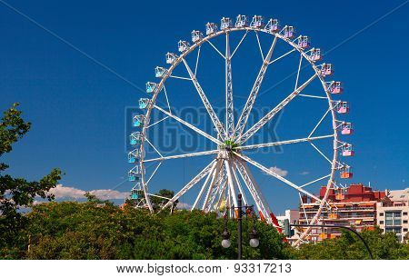 Giant ferris wheel against clear sky. Valencia.