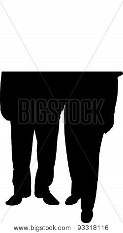 two old poor men silhouette vector