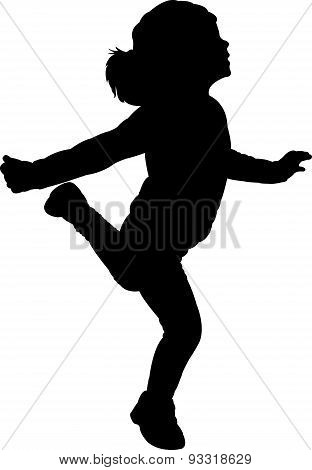 happy girl silhouette vector