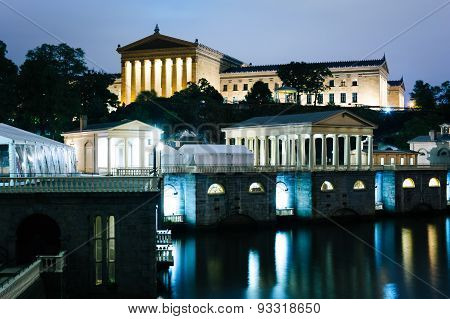 The Fairmount Water Works And Art Museum At Night, In Philadelphia, Pennsylvania.