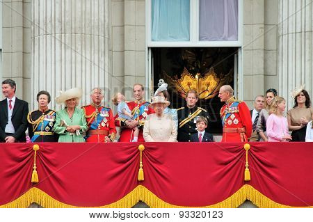 LONDON, UK - JUNE 13 2015: The Royal Family appears on Buckingham Palace balcony during Trooping the