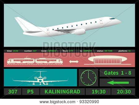 Regional Jet And Information Display Systems Of Airport.