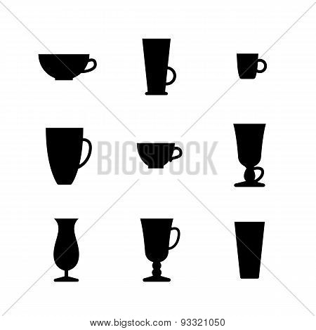 Black And White Set Of Cups And Glasses