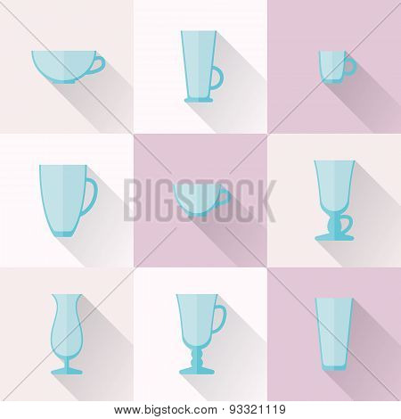 Set Of Cups And Glasses For Coffee