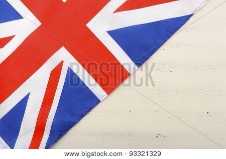 British Union Jack Flag On White Wood Background