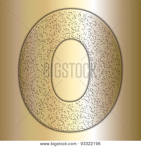 Vector metalic gold digits with grain texture, digit 0
