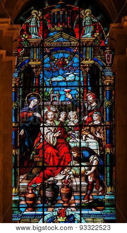 Jesus And Mary At The Wedding At Cana - Stained Glass