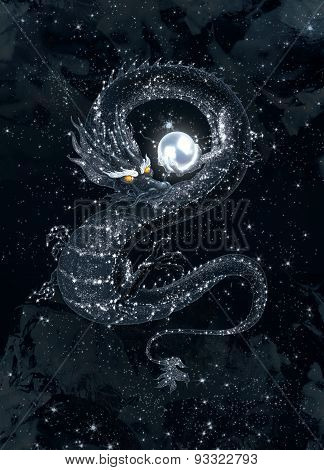 Dark dragon with a shining pearl in the starry sky