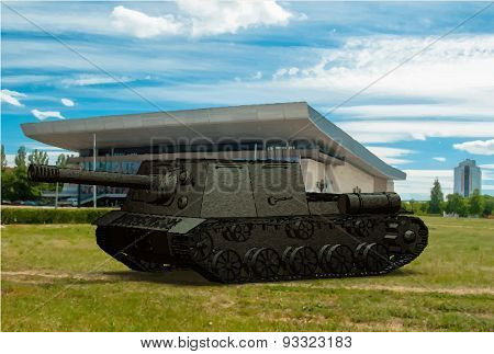 Panzer Self-propelled Artillery Unit Drawing On Background Sky Field