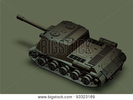 Panzer Self-propelled Artillery Unit Drawing On A Grey Background