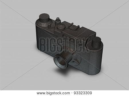 Film Camera With Lens Close Up