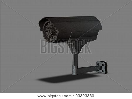 Video Surveillance Camera On A Gray Background Isolated