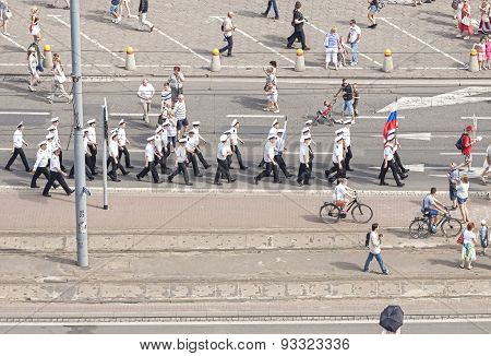 Sedov Sailing Ship Crew Parade.