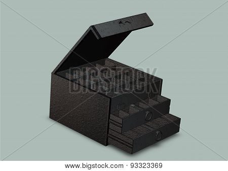 Open Sliding Box With Compartments Close-up