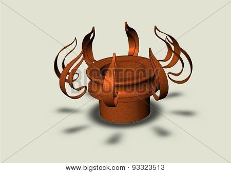 Abstract Outline Of The Gas Burner On A Grey Background