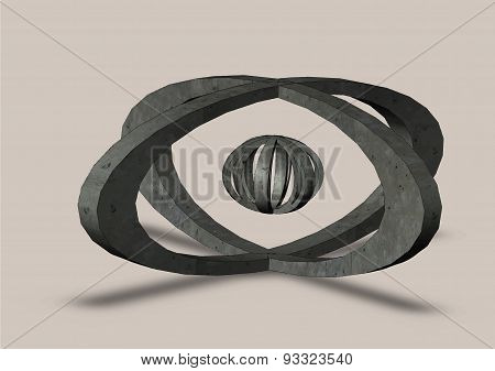 Abstract Sphere Logo Grooved On A Grey Background