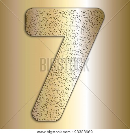 Vector metalic gold digits with grain texture, digit 7