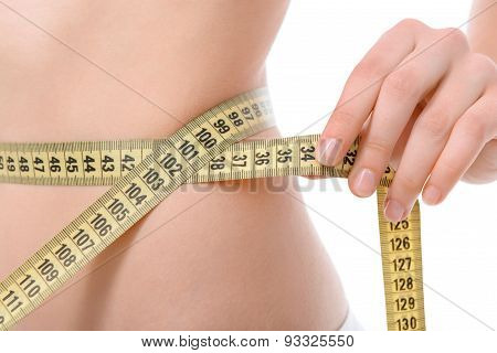 Parts of a body with measuring tape