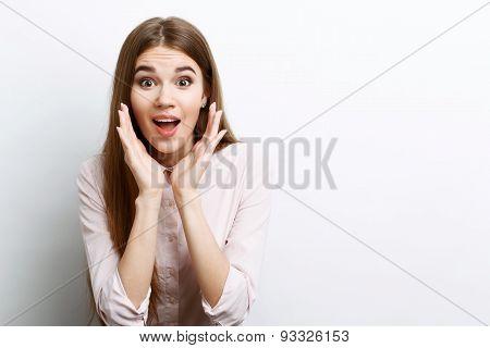 Beautiful girl showing emotions