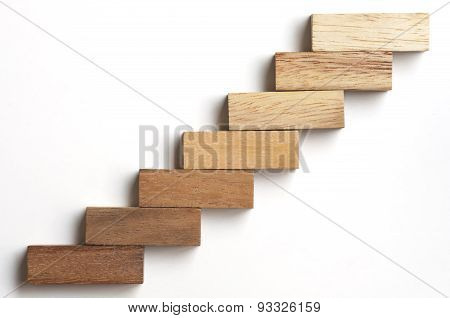 Wood Block Stacking As Step Stair.
