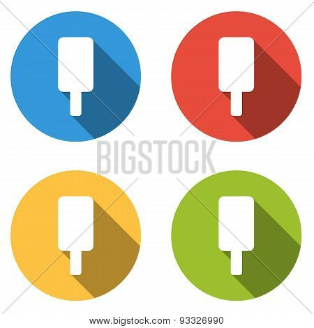 Collection Of 4 Isolated Flat Buttons For Ice Cream Lolly