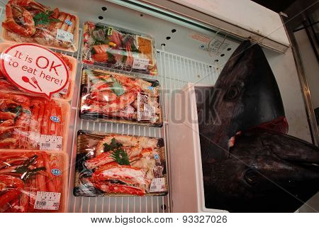 Fresh seafood in Osaka fish market
