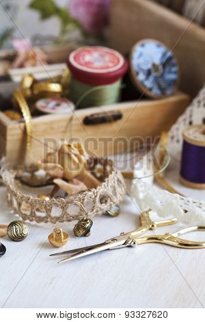 Tools For Needlework, Thread For Sewing, Scissors, Buttons And Vintage Laces