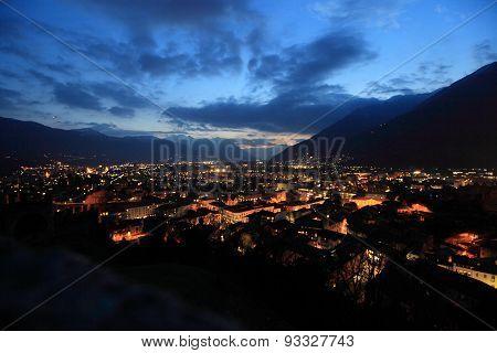 twilight cityscape of Bellinzona