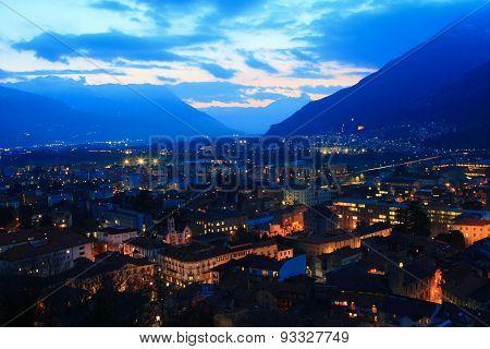 Bellinzona cityscape at night