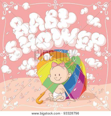 Baby Shower Vector Cartoon Invitation
