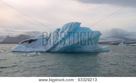 Blue Iceberg On Glacial Lake, Jokulsarlon, Iceland